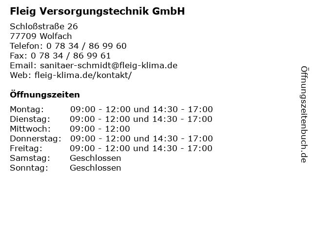Fleig Versorgungstechnik GmbH in Wolfach: Adresse und Öffnungszeiten