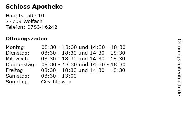Schloss Apotheke in Wolfach: Adresse und Öffnungszeiten