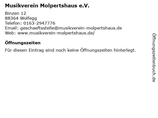 Musikverein Molpertshaus e.V. in Wolfegg: Adresse und Öffnungszeiten