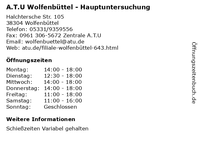 A.T.U Wolfenbüttel - Hauptuntersuchung in Wolfenbüttel: Adresse und Öffnungszeiten