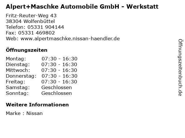 Alpert+Maschke Automobile GmbH - Werkstatt in Wolfenbüttel: Adresse und Öffnungszeiten