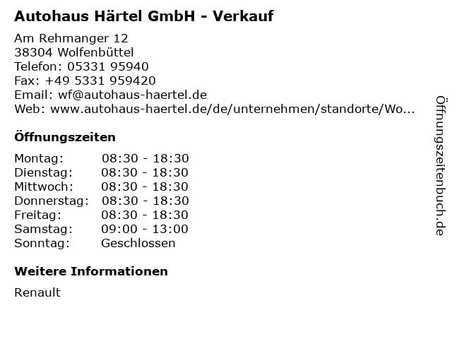 Autohaus Härtel GmbH - Verkauf in Wolfenbüttel: Adresse und Öffnungszeiten