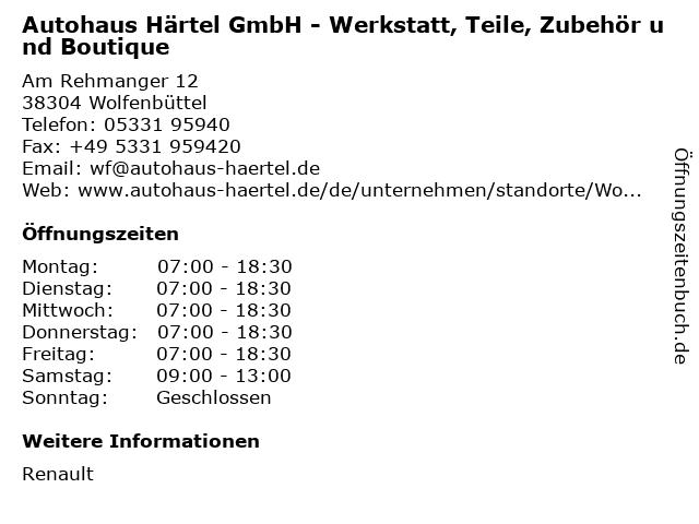 Autohaus Härtel GmbH - Werkstatt, Teile, Zubehör und Boutique in Wolfenbüttel: Adresse und Öffnungszeiten