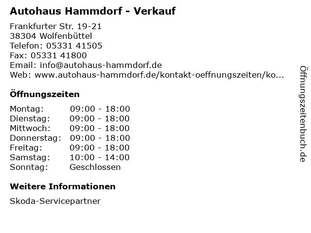 Autohaus Hammdorf - Verkauf in Wolfenbüttel: Adresse und Öffnungszeiten