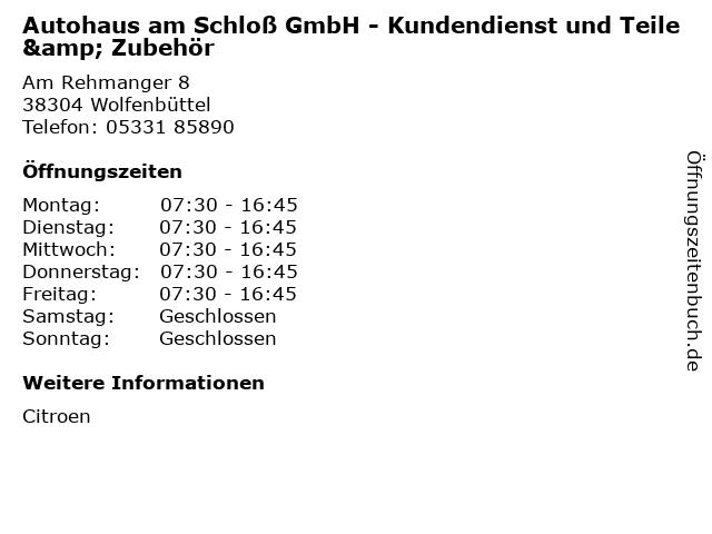 Autohaus am Schloß GmbH - Kundendienst und Teile & Zubehör in Wolfenbüttel: Adresse und Öffnungszeiten