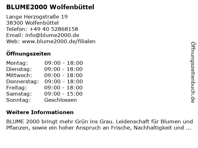 Blume 2000 Wolfenbüttel in Wolfenbüttel: Adresse und Öffnungszeiten