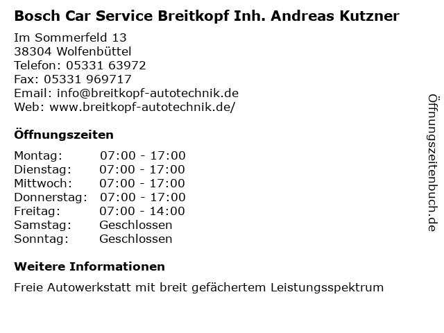 Bosch Car Service Breitkopf Inh. Andreas Kutzner in Wolfenbüttel: Adresse und Öffnungszeiten