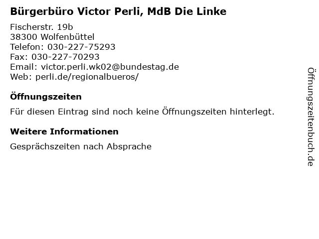 Bürgerbüro Victor Perli, MdB Die Linke in Wolfenbüttel: Adresse und Öffnungszeiten