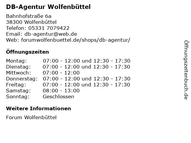 DB-Agentur Wolfenbüttel in Wolfenbüttel: Adresse und Öffnungszeiten