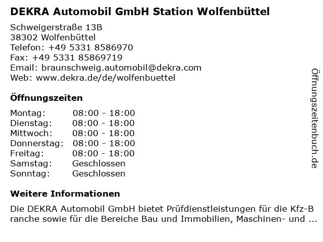DEKRA Automobil GmbH Station Wolfenbüttel in Wolfenbüttel: Adresse und Öffnungszeiten