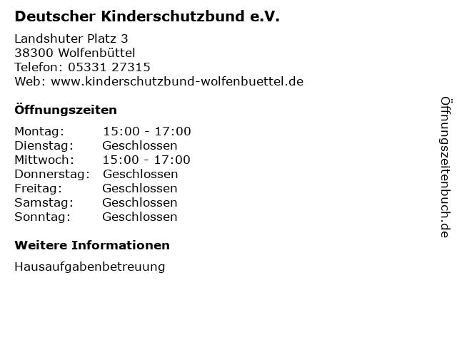 Deutscher Kinderschutzbund e.V. in Wolfenbüttel: Adresse und Öffnungszeiten