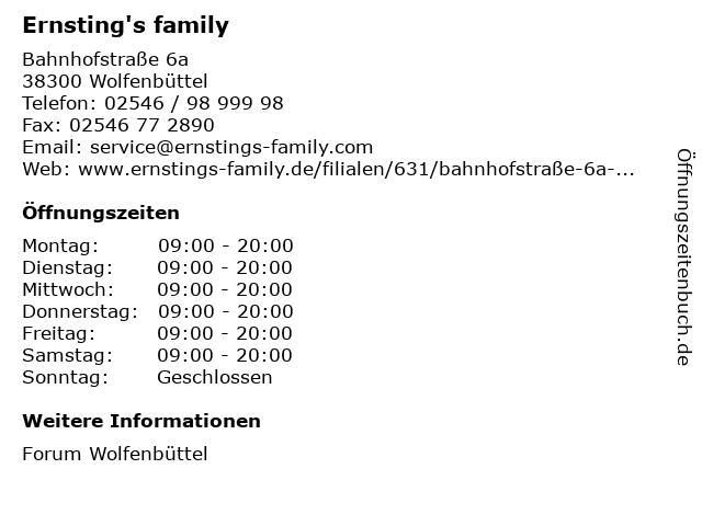 Ernsting's family in Wolfenbüttel: Adresse und Öffnungszeiten
