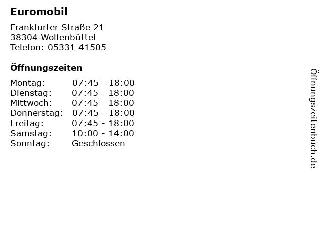 Euromobil in Wolfenbüttel: Adresse und Öffnungszeiten