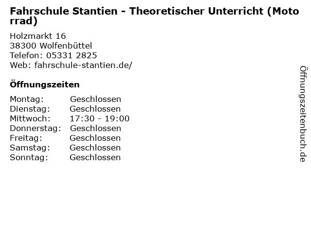 Fahrschule Stantien - Theoretischer Unterricht (Motorrad) in Wolfenbüttel: Adresse und Öffnungszeiten