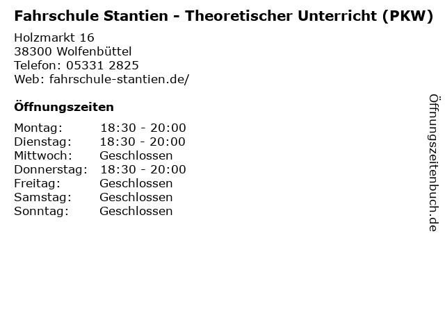Fahrschule Stantien - Theoretischer Unterricht (PKW) in Wolfenbüttel: Adresse und Öffnungszeiten