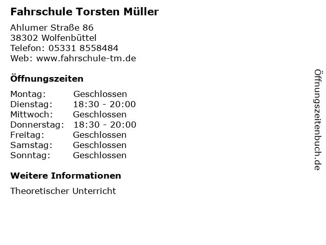 Fahrschule Torsten Müller in Wolfenbüttel: Adresse und Öffnungszeiten