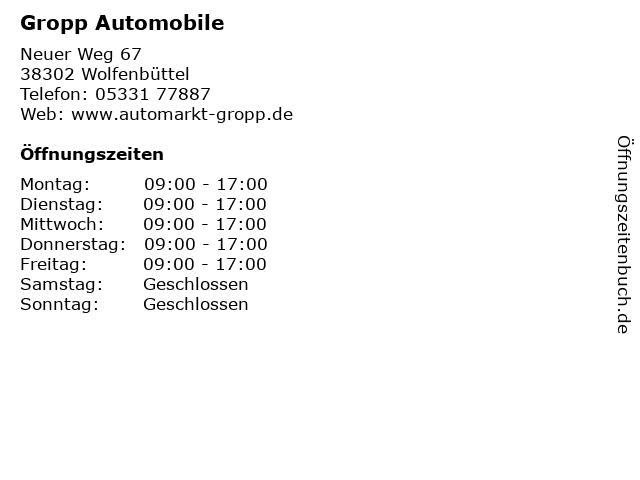 Gropp Automobile in Wolfenbüttel: Adresse und Öffnungszeiten