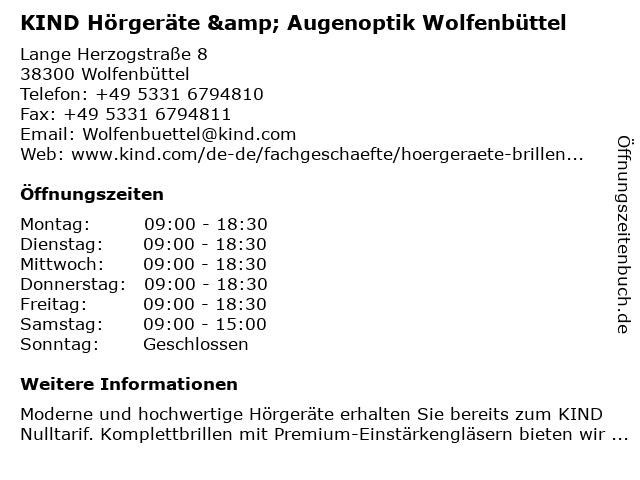 KIND Hörgeräte & Augenoptik Wolfenbüttel in Wolfenbüttel: Adresse und Öffnungszeiten