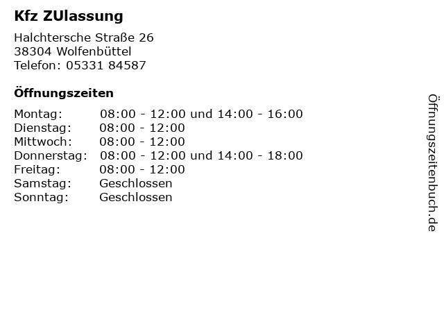 Kfz ZUlassung in Wolfenbüttel: Adresse und Öffnungszeiten
