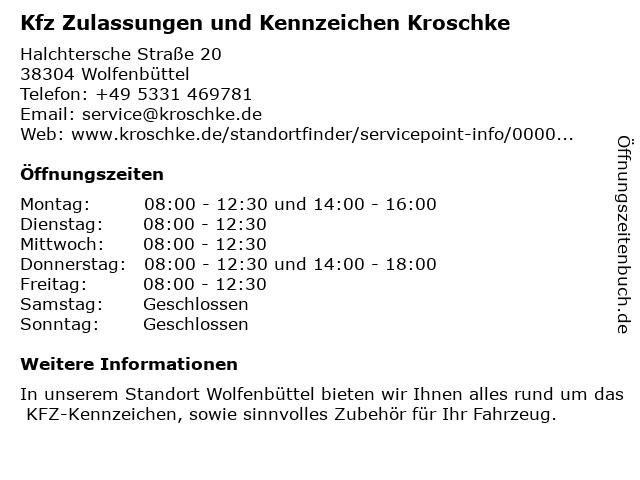 Kfz Zulassungen und Kennzeichen Kroschke in Wolfenbüttel: Adresse und Öffnungszeiten