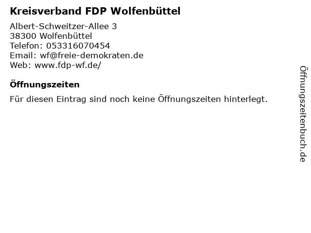 Kreisverband FDP Wolfenbüttel in Wolfenbüttel: Adresse und Öffnungszeiten