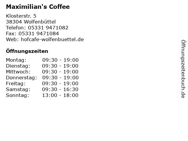 Maximilian's Coffee in Wolfenbüttel: Adresse und Öffnungszeiten
