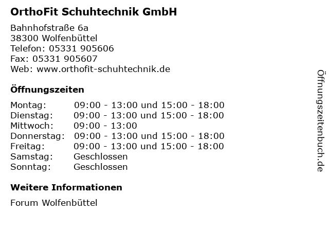 OrthoFit Schuhtechnik GmbH in Wolfenbüttel: Adresse und Öffnungszeiten