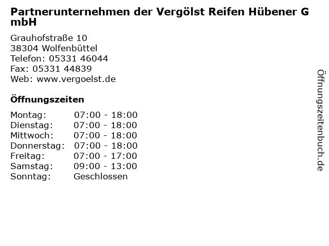 Partnerunternehmen der Vergölst Reifen Hübener GmbH in Wolfenbüttel: Adresse und Öffnungszeiten