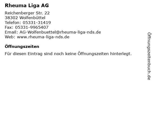 Rheuma Liga AG in Wolfenbüttel: Adresse und Öffnungszeiten