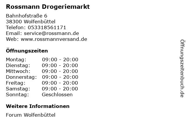 Rossmann Drogeriemarkt in Wolfenbüttel: Adresse und Öffnungszeiten