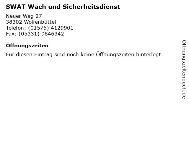 SWAT Wach und Sicherheitsdienst in Wolfenbüttel: Adresse und Öffnungszeiten