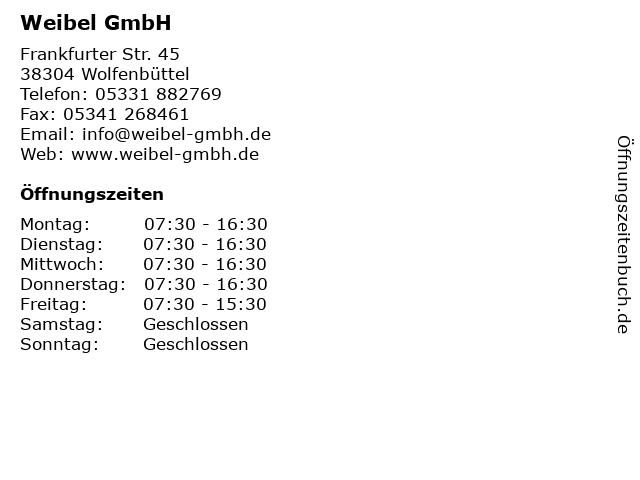 Weibel GmbH in Wolfenbüttel: Adresse und Öffnungszeiten