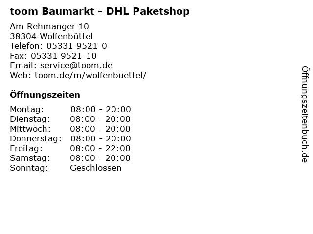 toom Baumarkt - DHL Paketshop in Wolfenbüttel: Adresse und Öffnungszeiten