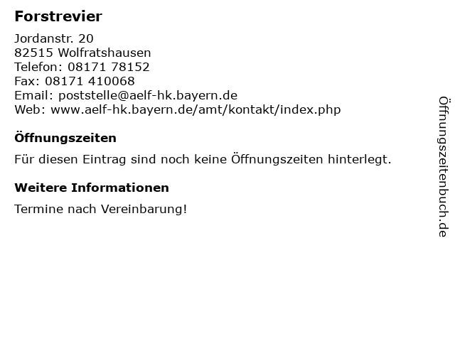 Forstrevier in Wolfratshausen: Adresse und Öffnungszeiten