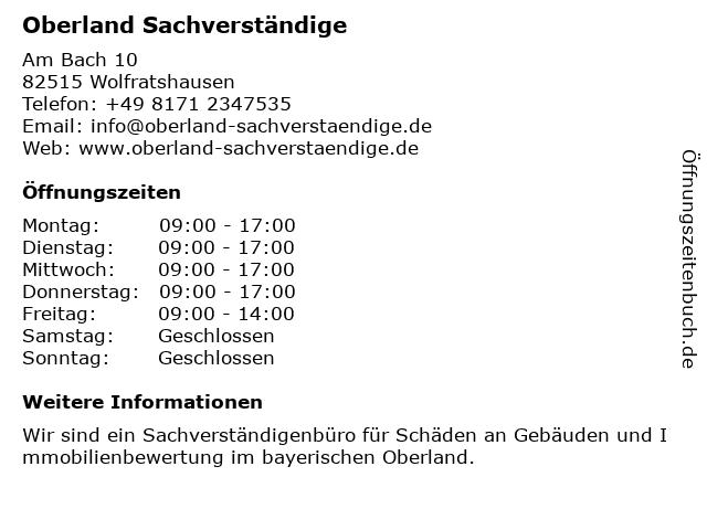 Oberland Sachverständige in Wolfratshausen: Adresse und Öffnungszeiten