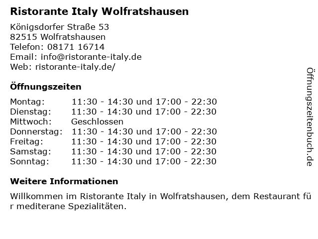 Ristorante Italy in Wolfratshausen: Adresse und Öffnungszeiten