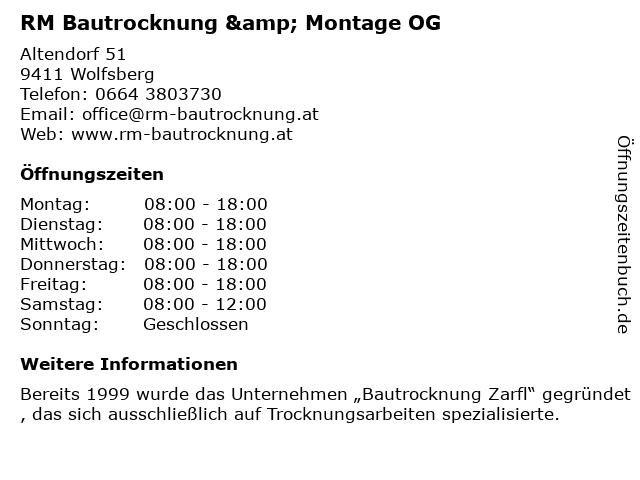 RM Bautrocknung & Montage OG in Wolfsberg: Adresse und Öffnungszeiten