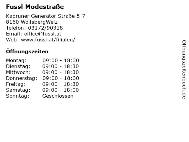 Fussl Modestraße in WolfsbergWeiz: Adresse und Öffnungszeiten