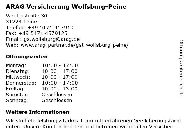 ARAG Versicherung Wolfsburg-Peine in Wolfsburg: Adresse und Öffnungszeiten