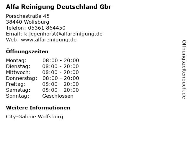 Alfa Reinigung Deutschland Gbr in Wolfsburg: Adresse und Öffnungszeiten