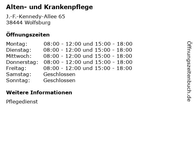 Alten- und Krankenpflege in Wolfsburg: Adresse und Öffnungszeiten