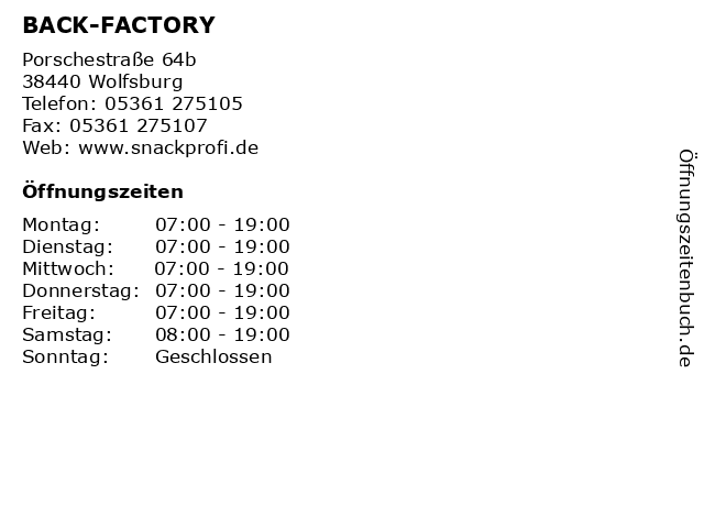 BACK-FACTORY in Wolfsburg: Adresse und Öffnungszeiten