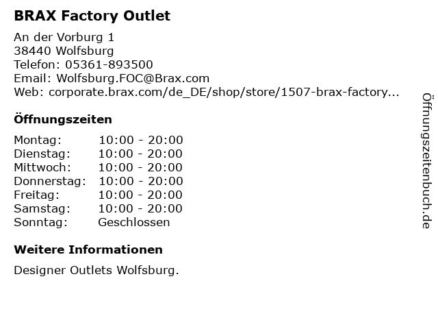 BRAX Factory Outlet in Wolfsburg: Adresse und Öffnungszeiten