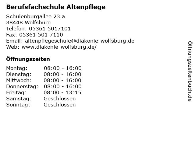 Berufsfachschule Altenpflege in Wolfsburg: Adresse und Öffnungszeiten