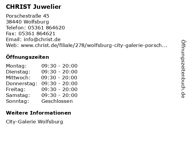 CHRIST Juweliere und Uhrmacher seit 1863 GmbH in Wolfsburg: Adresse und Öffnungszeiten