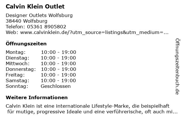 Calvin Klein Underwear in Wolfsburg: Adresse und Öffnungszeiten