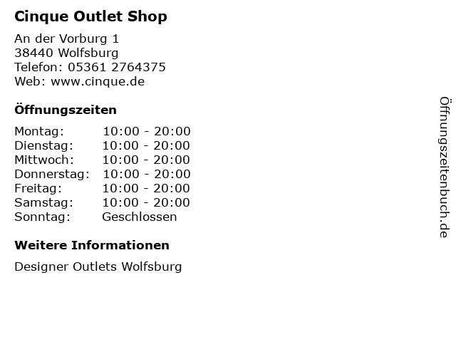 Cinque Outlet Shop in Wolfsburg: Adresse und Öffnungszeiten