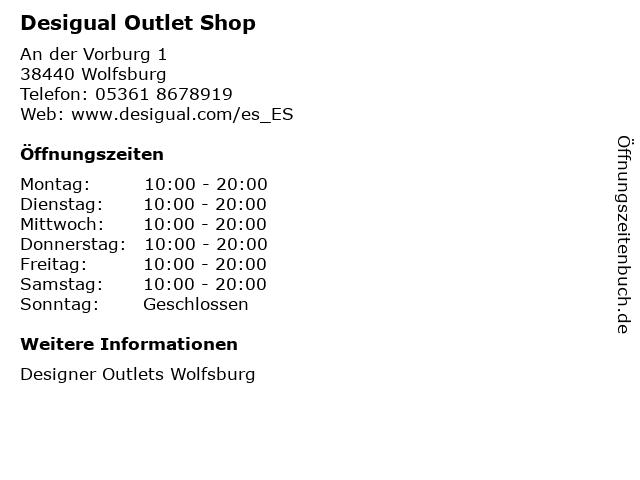 Desigual Outlet Shop in Wolfsburg: Adresse und Öffnungszeiten