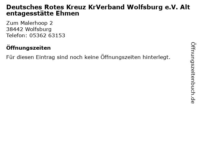 Deutsches Rotes Kreuz KrVerband Wolfsburg e.V. Altentagesstätte Ehmen in Wolfsburg: Adresse und Öffnungszeiten