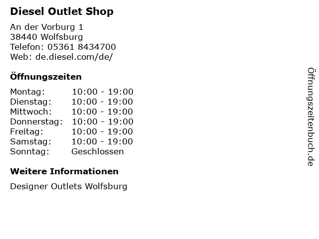 Diesel Outlet Shop in Wolfsburg: Adresse und Öffnungszeiten